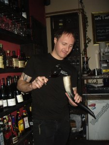Jeremy Day works the wine horn.