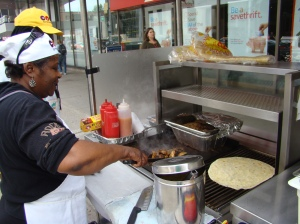 Steam rising from the jerk chicken at Yonge and St. Clair (note the massive pita wrap)