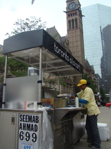 The Central Asian/Persian food cart is located on the south end of Nathan Phillips Square